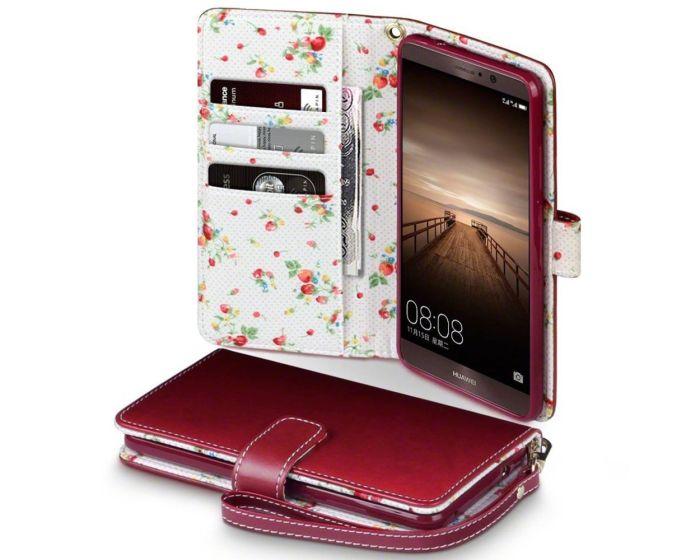 Terrapin Θήκη Πορτοφόλι Wallet Case (117-083-103) Red - Flowers (Huawei Mate 9)