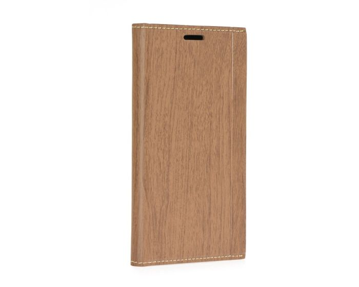 Forcell Wallet Case με δυνατότητα Stand Brown Wooden Pattern (Huawei Y7)