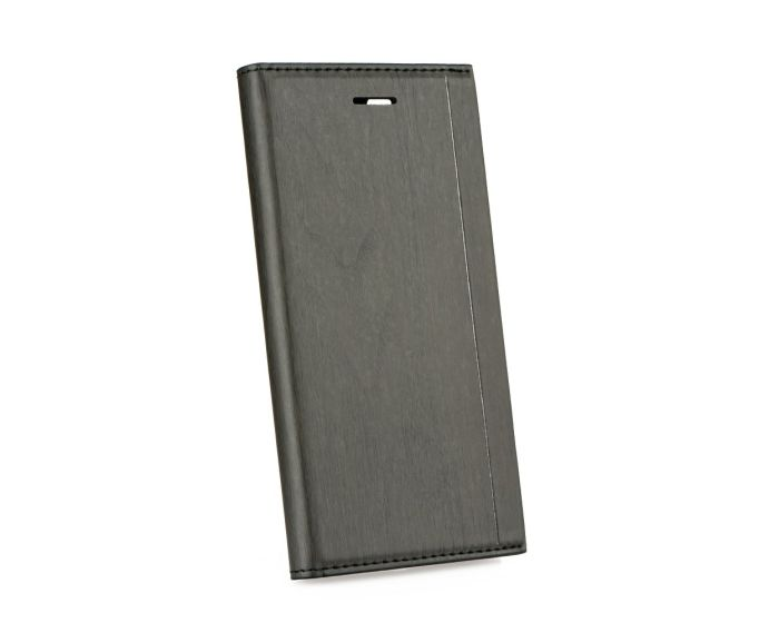 Forcell Wallet Case με δυνατότητα Stand Black Wooden Pattern (Huawei Y5 2017 / Y6 2017)