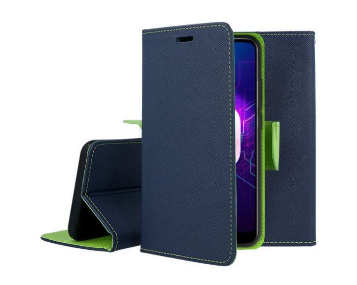 Tel1 Fancy Diary Case Θήκη Πορτοφόλι με δυνατότητα Stand Navy / Lime (Huawei Y6 Prime 2018)