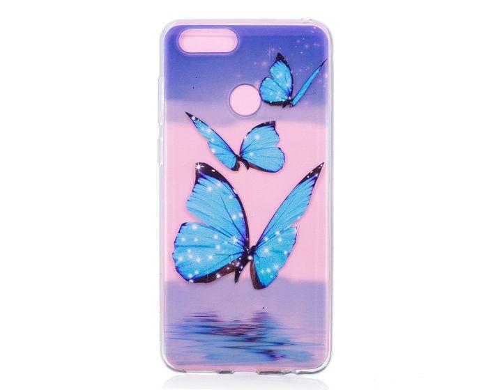 Slim Fit Gel Case Blue Butterflies Θήκη Σιλικόνης (Huawei Honor 7X)