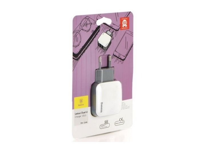 Baseus Letour Dual-U Wall USB Charger - Αντάπτορας Φόρτισης Τοίχου 2.4Ah