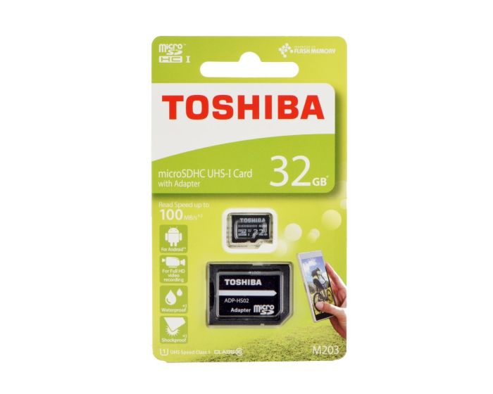 Toshiba M203 Memory Card microSDHC 32gb - Class 10 UHS-I with Adaptor