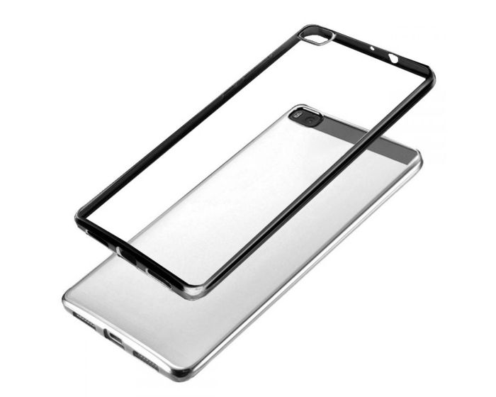 Forcell Electro Bumper Silicone Case Slim Fit - Θήκη Σιλικόνης Clear / Black (Huawei Ascend P8 Lite)
