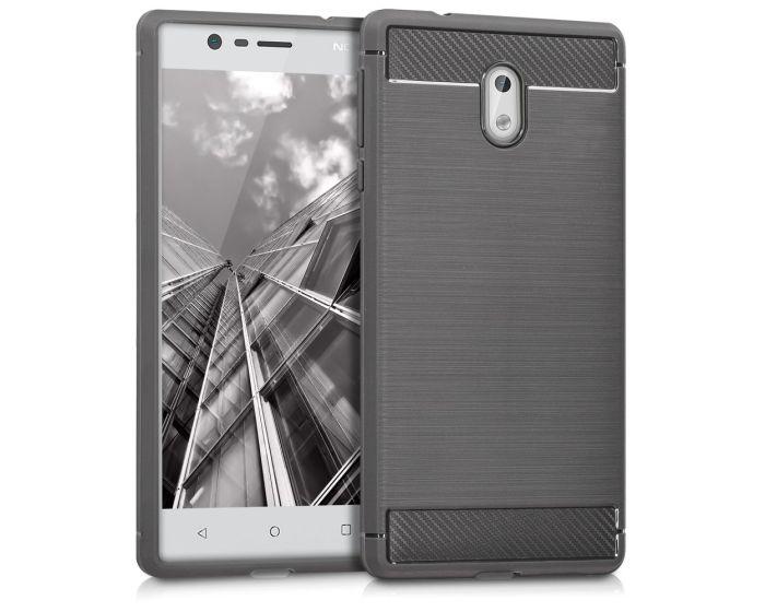 KWmobile Jelly Brushed Carbon Slim Case Θήκη Σιλικόνης (42695.01) Grey (Nokia 3)