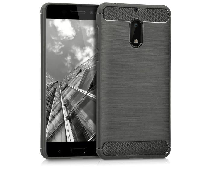 KWmobile Jelly Brushed Carbon Slim Case Θήκη Σιλικόνης (42697.01) Grey (Nokia 6)
