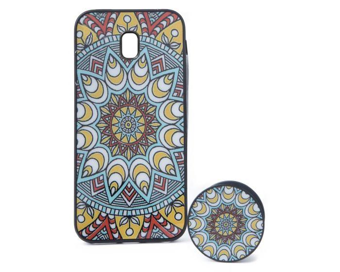 TPU Case Indian Sun Θήκη Σιλικόνης με Popsocket Yellow / Cyan (Samsung Galaxy J3 2017)