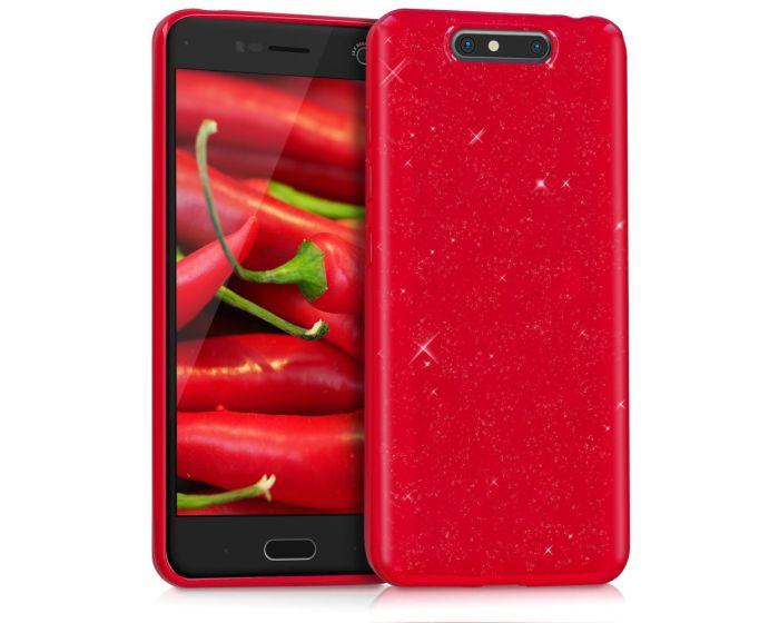 KWmobile TPU Silicone Case (42305.09) Red Glitter (ZTE Blade V8)