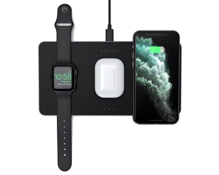SATECHI Trio Wireless Charging Pad για Smartphones, AirPods και Apple Watch - Space Grey