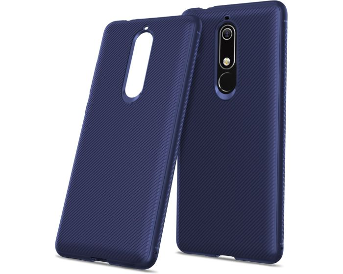 Twill Texture Soft Fitted TPU Case Dark Blue (Nokia 5.1 2018)