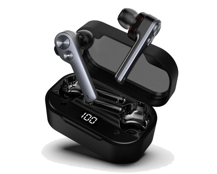 UiiSii TWS808 Wireless Bluetooth Stereo Earbuds with Charging Box - Black