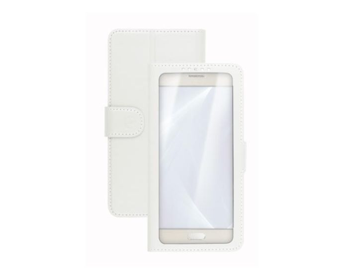 "Celly Unica View L Case Θήκη Πορτοφόλι White για συσκευές με οθόνη από 4.0"" μέχρι 4.5"""