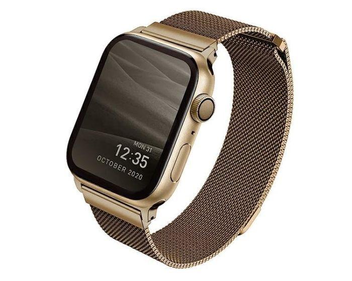 UNIQ Dante Milanese Strap Stainless Steel Golden για Apple Watch 42/44mm (4/5/6/SE)
