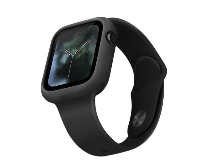 UNIQ Lino Slim Silicone Case Θήκη Σιλικόνης Black για Apple Watch 44mm (Series 4/5/6/SE)