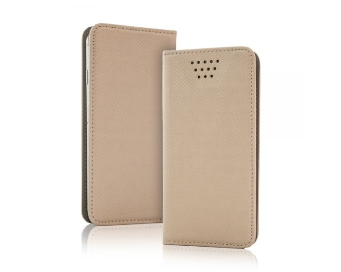 "Universal Smart Wallet Case Θήκη Πορτοφόλι Χρυσό για συσκευές με οθόνη από 4.7"" μέχρι 5.3"""