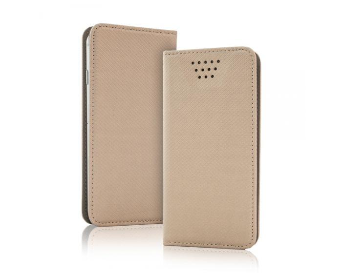 "Universal Smart Wallet Case Θήκη Πορτοφόλι Χρυσό για συσκευές με οθόνη από 4.5"" μέχρι 5.0"""