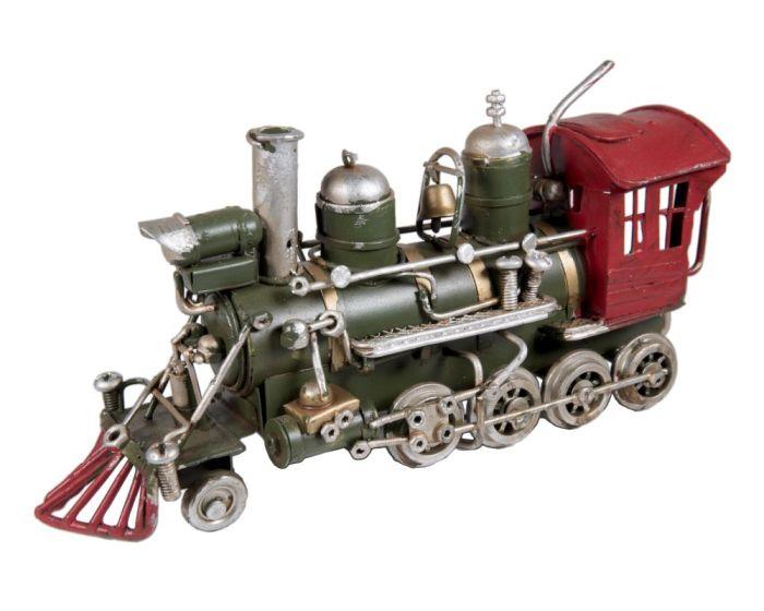 Vintage Διακοσμητικό Μεταλλικό Τρένο - Πράσινο / Κόκκινο