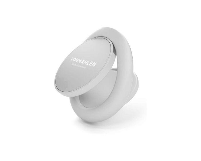 Vonmahlen BackFlip Signature Phone Grip Δαχτυλίδι Συγκράτησης με Μαγνητικό Κλιπ Αυτοκινήτου - White / Silver