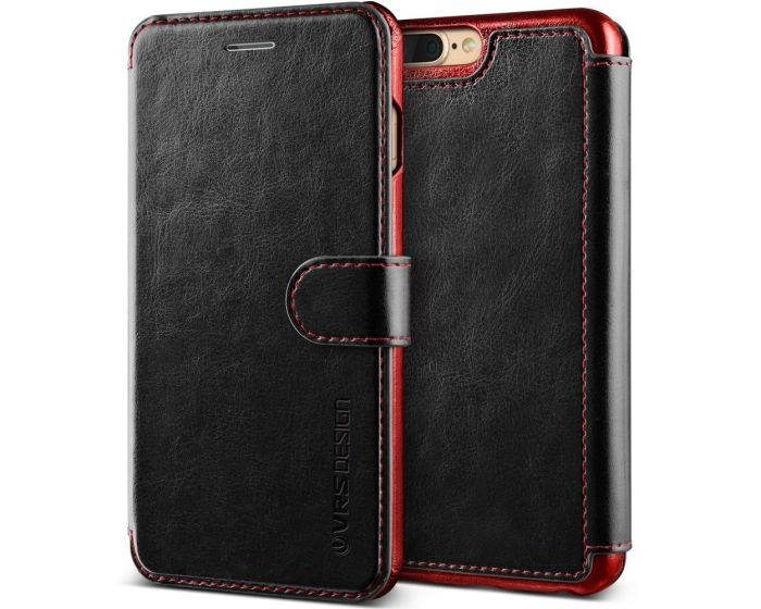 VRS Dandy Layered Wallet Case PU Leather Θήκη Πορτοφόλι Black (iPhone 7 Plus / 8 Plus)