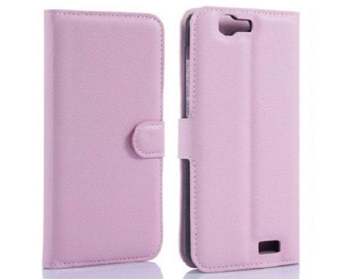 Θήκη Πορτοφόλι Wallet Case Pink (Huawei Ascend G7)