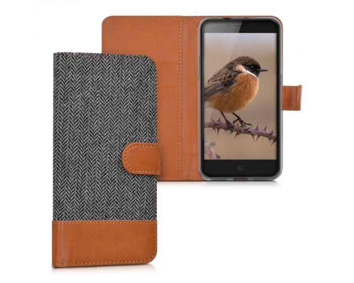 KWmobile Canvas Wallet Case (38682.05) Θήκη Πορτοφόλι με δυνατότητα Stand Grey / Brown (ZTE Blade V7)
