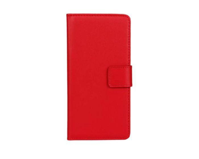 Wallet Case Θήκη Πορτοφόλι με Δυνατότητα Stand + Μεμβράνη Οθόνης Κόκκινο (Huawei Ascend Y550)