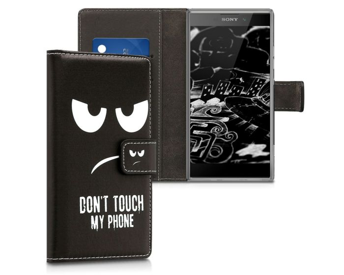 KWmobile Wallet Case Θήκη Πορτοφόλι με δυνατότητα Stand (44290.01) Don't touch my phone (Sony Xperia L2)