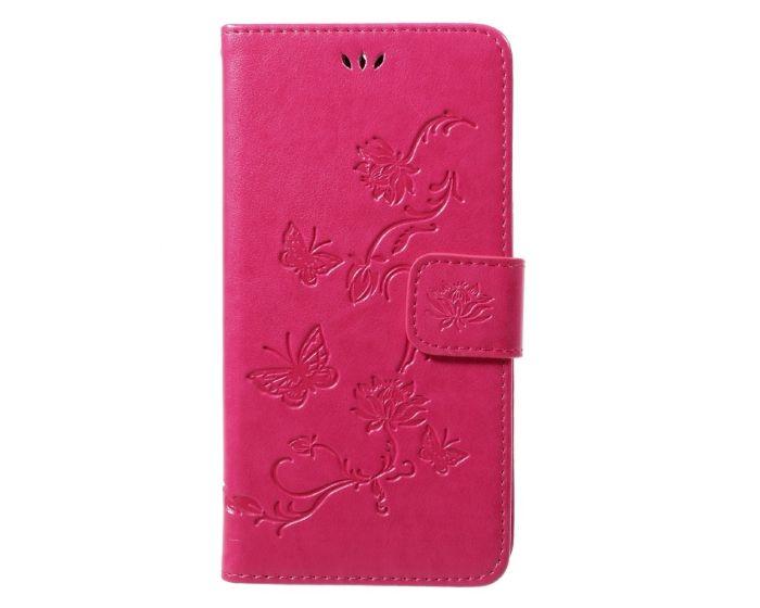 Butterfly Wallet Case με Δυνατότητα Stand - Pink (Motorola Moto G5s)