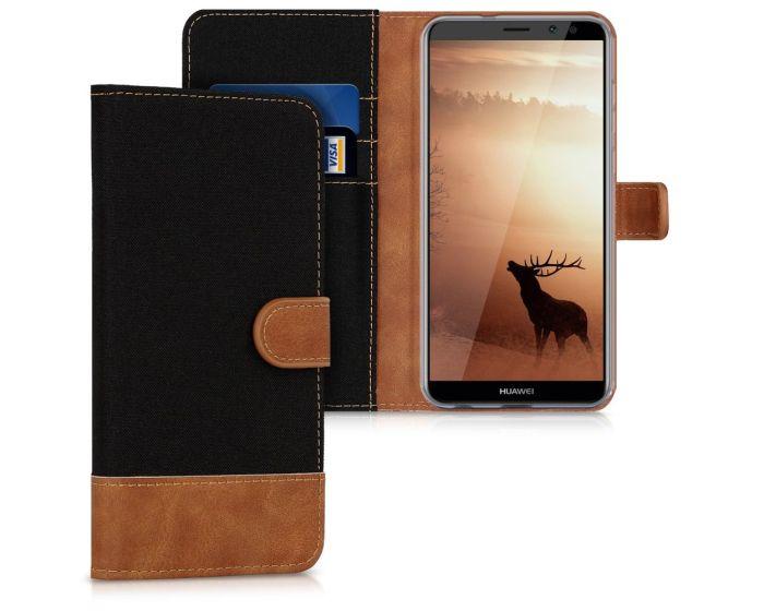 KWmobile Canvas Wallet Case (43290.02) Θήκη Πορτοφόλι με δυνατότητα Stand Black / Brown (Huawei Mate 10 Lite)