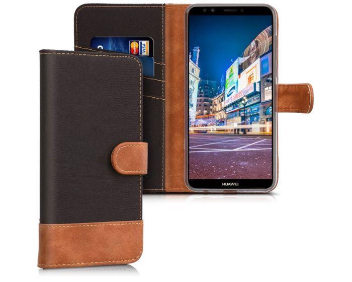 KWmobile Canvas Wallet Case (44822.01) Θήκη Πορτοφόλι με δυνατότητα Stand Black / Brown (Huawei Y7 Prime 2018)
