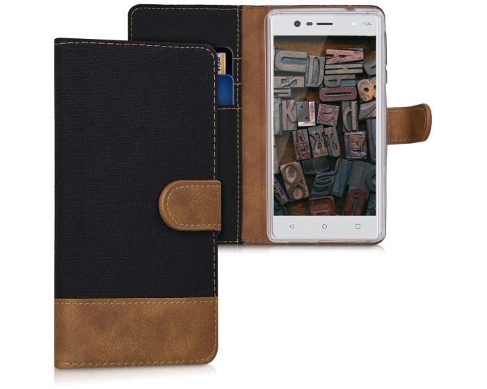 KWmobile Canvas Wallet Case (41108.02) Θήκη Πορτοφόλι με δυνατότητα Stand Black / Brown (Nokia 3)