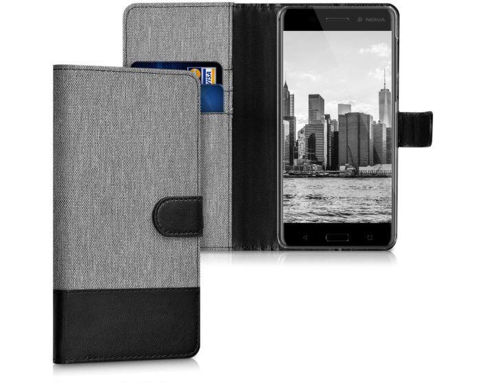 KWmobile Canvas Wallet Case (41103.01) Θήκη Πορτοφόλι με δυνατότητα Stand Grey / Black (Nokia 6)