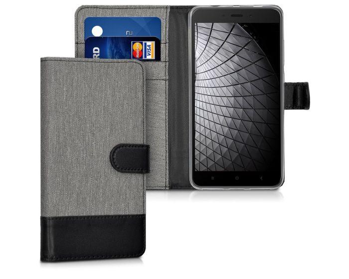 KWmobile Canvas Wallet Case (41544.22) Θήκη Πορτοφόλι με δυνατότητα Stand Grey / Black (Xiaomi Redmi Note 4 / 4X)
