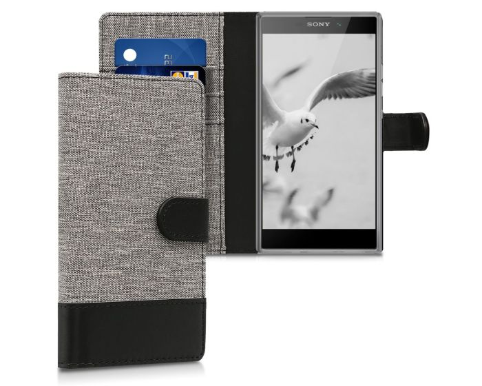 KWmobile Canvas Wallet Case (44288.22) Θήκη Πορτοφόλι με δυνατότητα Stand Grey / Black (Sony Xperia L2)