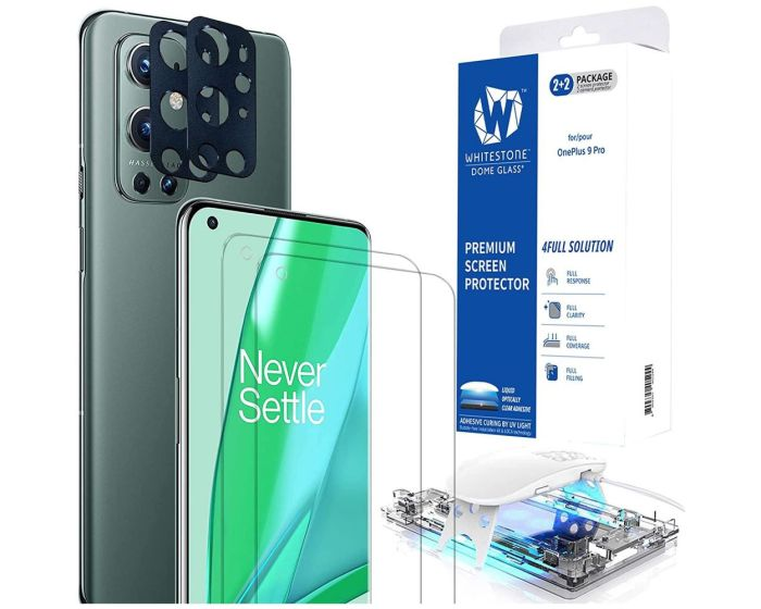 Whitestone Dome Glass (Liquid Dispersion Tech) Full Cover Tempered Glass Screen Protector + Camera Lens Protection [2+2Pack] (OnePlus 9 Pro)