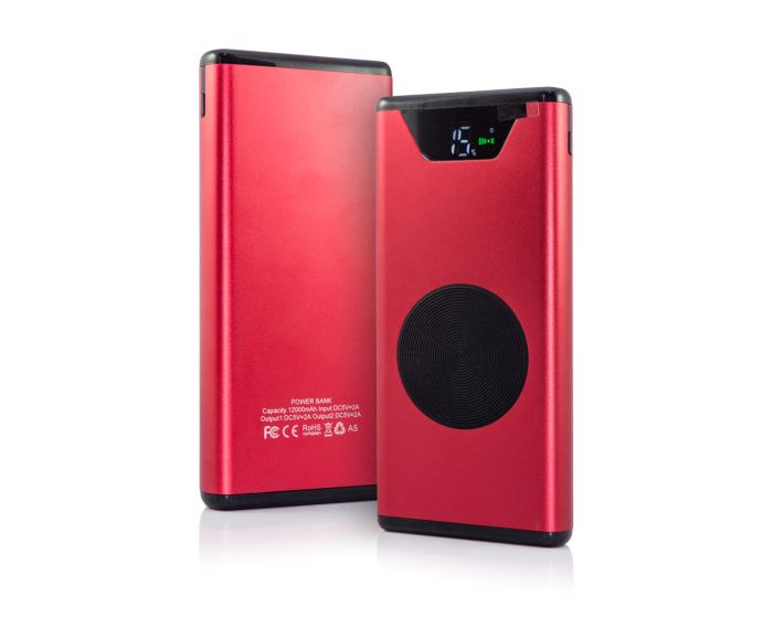 Qi Metal PowerBank with Induction Wireless Charging Red – 12000mAh