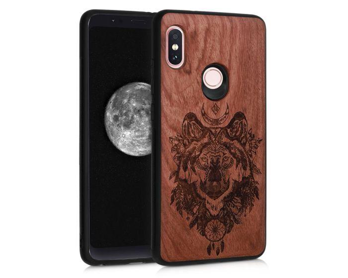 KWmobile Wooden Case Spirit Wolf (46185.02) Θήκη Ξύλινη Walnut (Xiaomi Redmi Note 5)