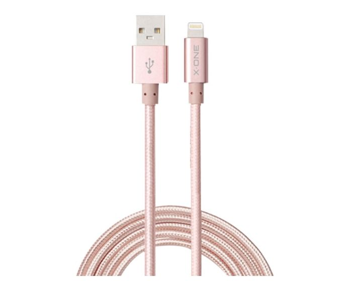 X-ONE MFI Charge & Sync Ligntning Ultra Cable Tough & Rugged Quick Charge 2.4A - 1,5 μέτρο Rose Gold