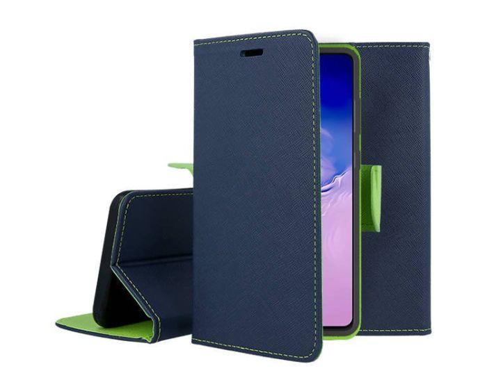 Tel1 Fancy Diary Case Θήκη Πορτοφόλι με δυνατότητα Stand Navy / Lime (Xiaomi Mi 10 Lite)