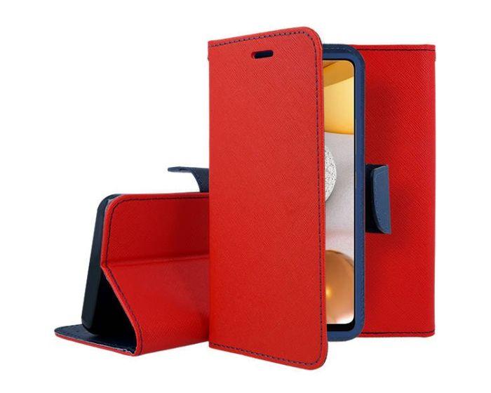 Tel1 Fancy Diary Case Θήκη Πορτοφόλι με δυνατότητα Stand Red / Navy (Xiaomi Poco M3 / Redmi 9T)