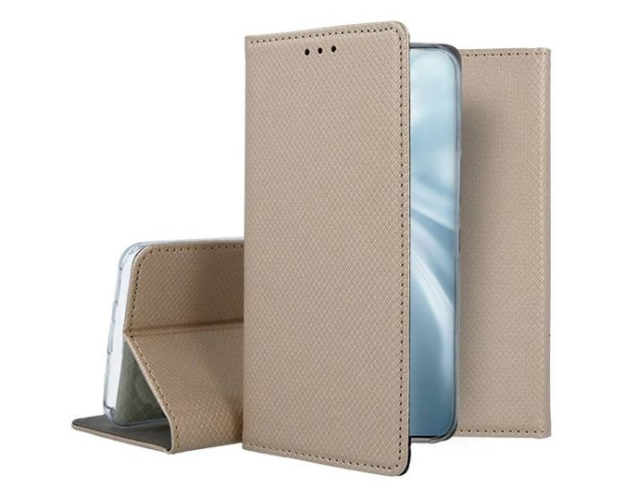 Forcell Smart Book Case με Δυνατότητα Stand Θήκη Πορτοφόλι Gold (Huawei P Smart 2021)