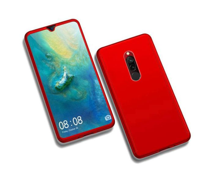 360 Full Cover Case & Tempered Glass - Red (Xiaomi Redmi 8)