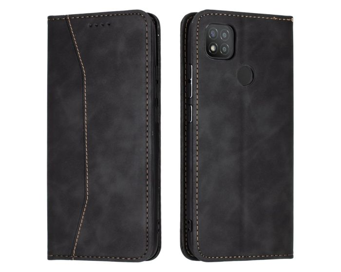 Bodycell PU Leather Book Case Θήκη Πορτοφόλι με Stand - Black (Xiaomi Redmi 9C)