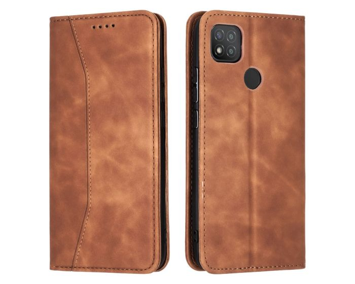 Bodycell PU Leather Book Case Θήκη Πορτοφόλι με Stand - Brown (Xiaomi Redmi 9C)