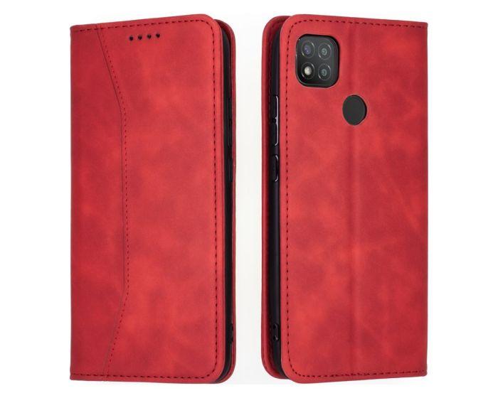 Bodycell PU Leather Book Case Θήκη Πορτοφόλι με Stand - Red (Xiaomi Redmi 9C)