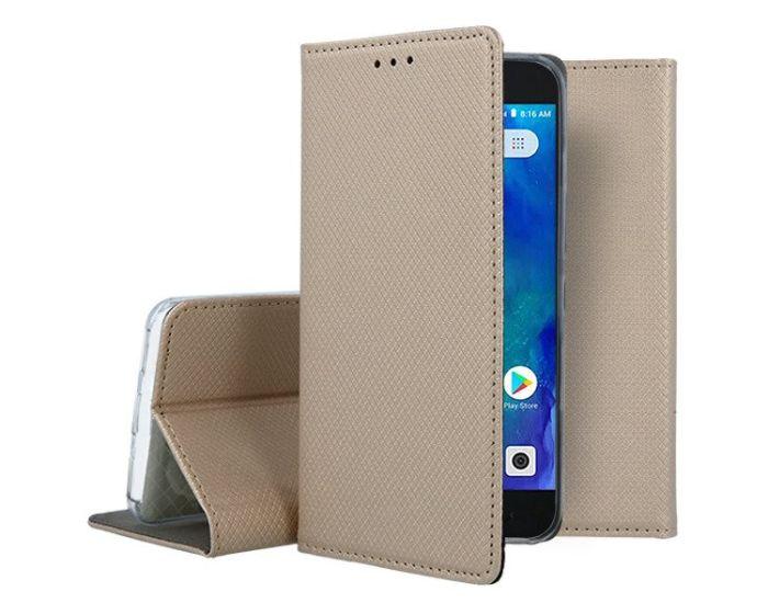 Forcell Smart Book Case με Δυνατότητα Stand Θήκη Πορτοφόλι Gold (Xiaomi Redmi Go)