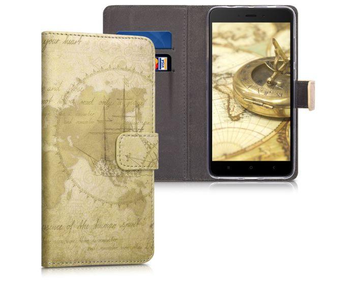 KWmobile Θήκη Πορτοφόλι Wallet Case (43021.01) World Map Vintage (Xiaomi Redmi Note 4 / 4X)