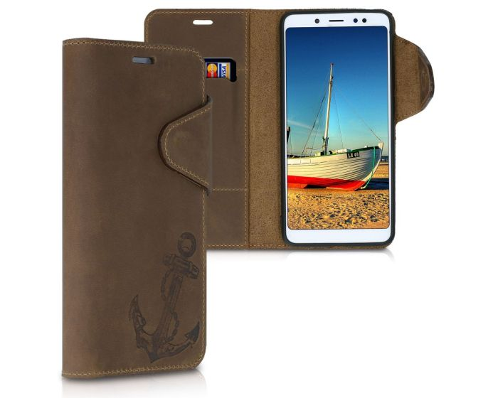Kalibri Leather Wallet Case Δερμάτινη Θήκη Πορτοφόλι (47462.01) Vintage Anchor Καφέ (Xiaomi Redmi Note 5 / Note 5 Pro)