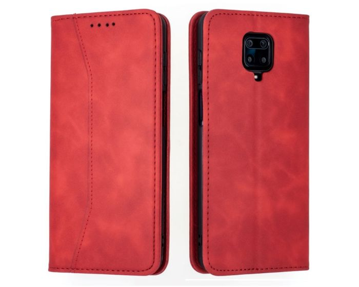 Bodycell PU Leather Book Case Θήκη Πορτοφόλι με Stand - Red (Xiaomi Redmi Note 9s / 9 Pro / 9 Pro Max)