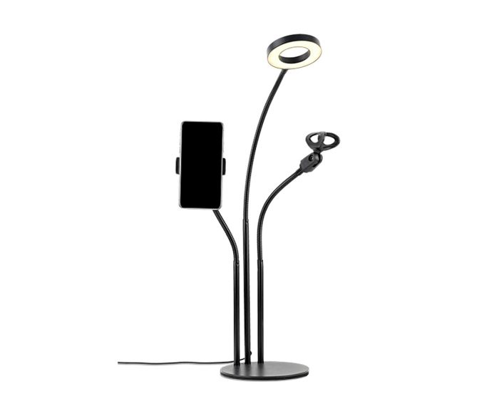 XO L02 Phone Stand Holder with LED Lamp and Microphone Holder Βάση Στήριξης - Black